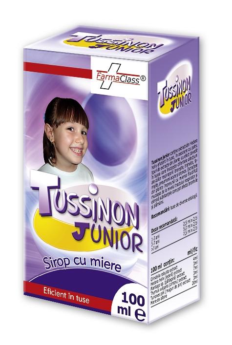 Tussinon Junior sirop cu miere - bronșite, traheite, faringite, pneumonii