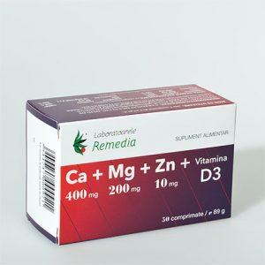 Ca + Mg + Zn + D3 (50 comprimate) - imunostimulator, efect antistres