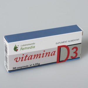Vitamina D3 Remedia 30 comprimate - mentinerea densitatiI osoase