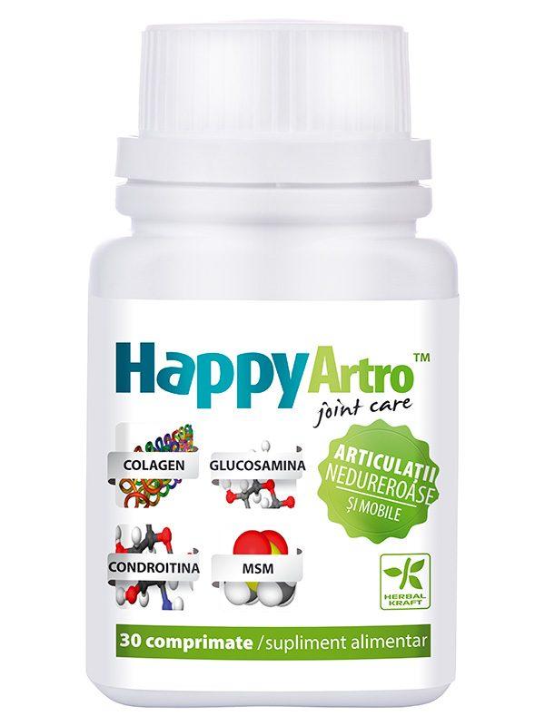 Articulatii Nedureroase HappyArtro 30 cpr - protejarea sistemelor osos