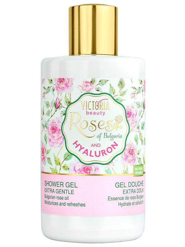 Gel de Dus cu Ulei de Trandafir si Acid Hialuronic 250 ml-catifeleaza pielea